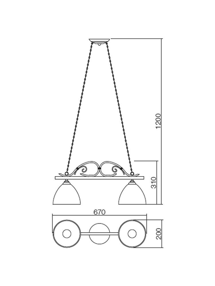 Suspensie Calais 02-296, 2 x E27