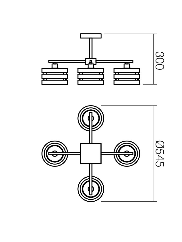 Plafoniera tip lustra Kim 01-627, 4 x E14