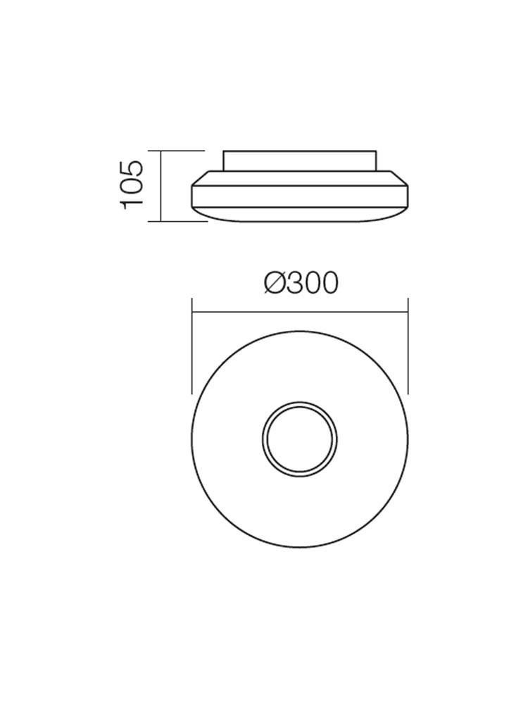 Plafoniera pentru baie Lunar 01-695, 2 x E27, D 300 mm