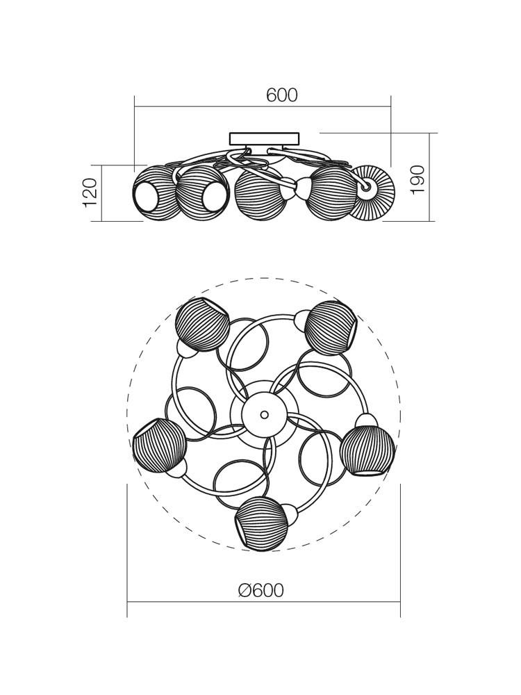 Plafoniera tip lustra Anne 02-795, 5 x E14