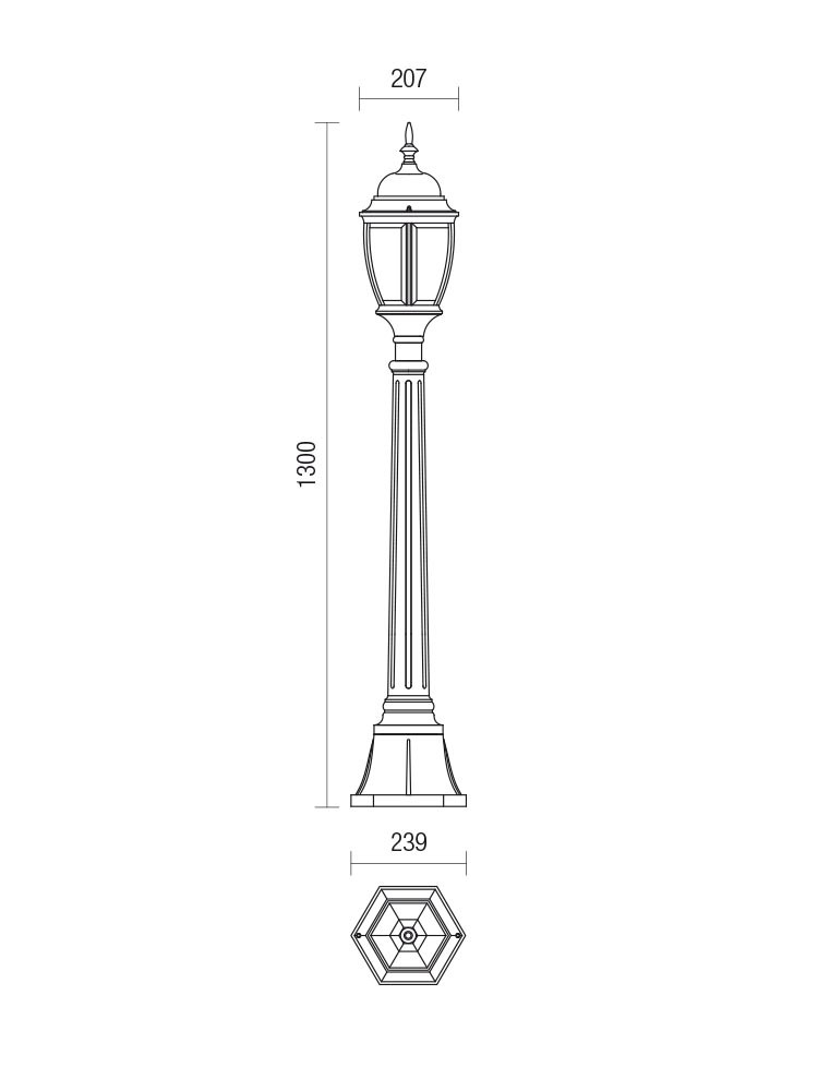 Stalp de iluminat ornamental Sevilla 9608, 1 x E27, 130 cm