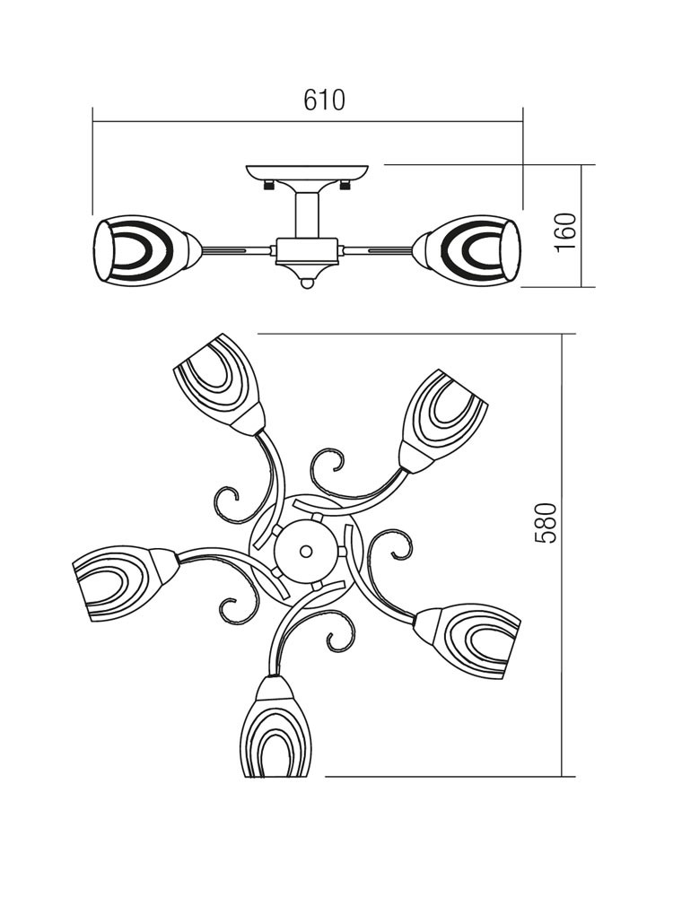 Plafoniera tip lustra Maltese 02-631, 5 x E14