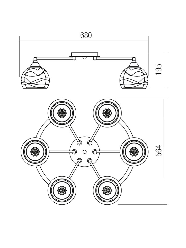 Plafoniera tip lustra Vivienne 01-1054, 6 x E27