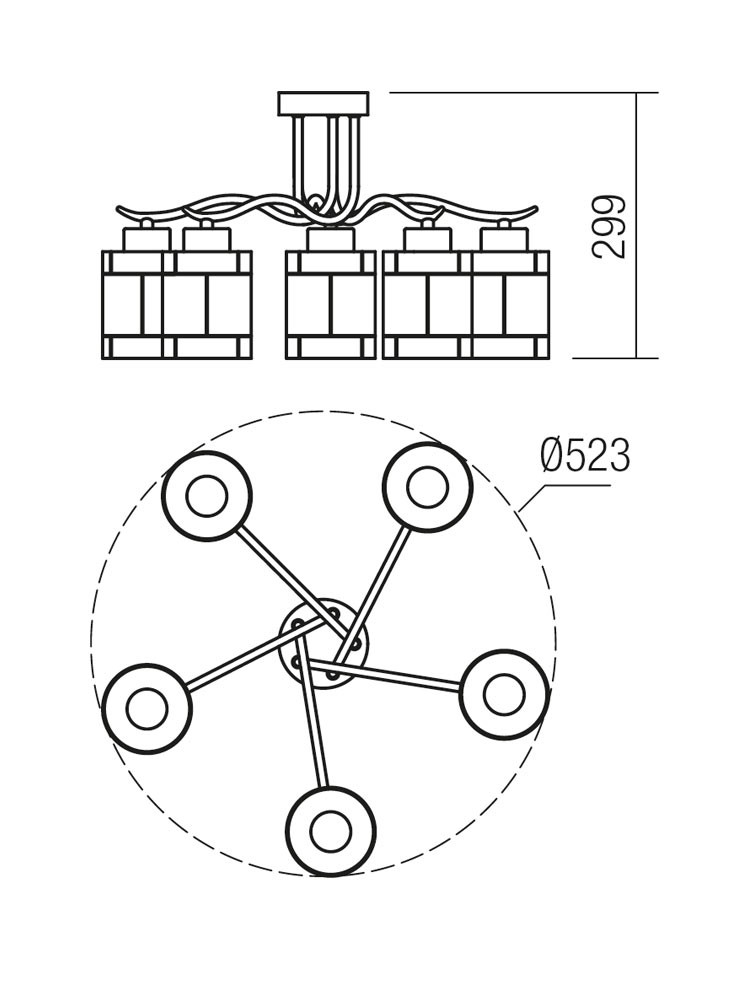 Plafoniera tip lustra Dekor 02-888, 5 x E27
