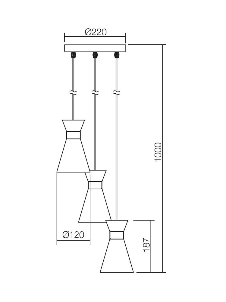 Suspensie Noak 01-1188, 3 x E14, negru
