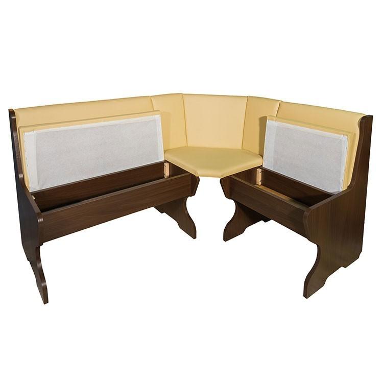Coltar bucatarie Talia, cu 2 scaune + masa, cu lada, maro + crem, 143 x 112 x 87 cm 3C
