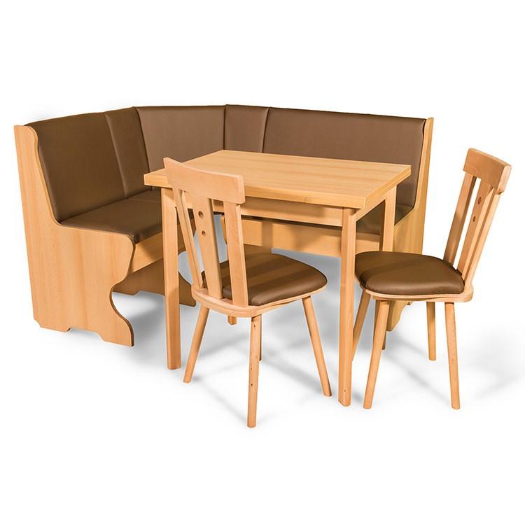 Coltar bucatarie Talia, cu 2 scaune + masa, cu lada, fag + maro, 143 x 112 x 87 cm 3C