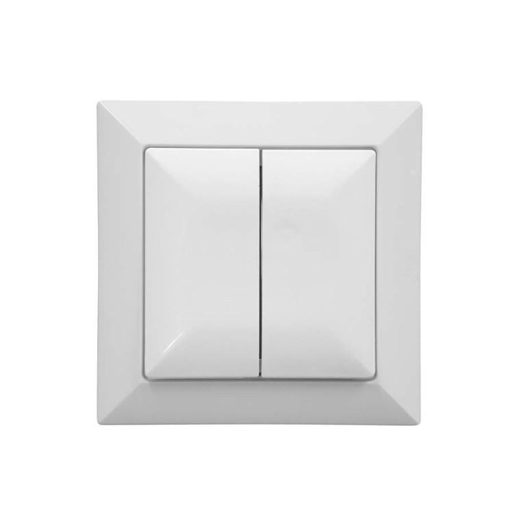 Intrerupator dublu cu indicator luminos Abex Perla WP-2P/S, incastrat, alb