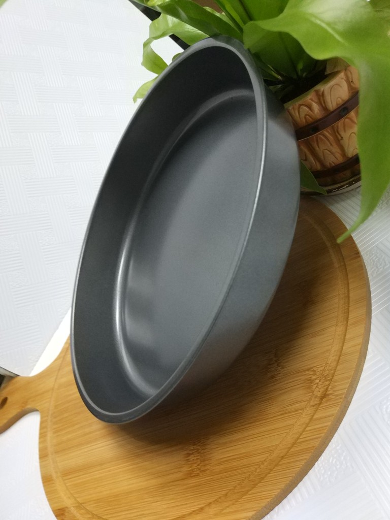 Tava rotunda pentru copt, otel carbon, anti-aderenta, gri, 28 x 4.5 cm
