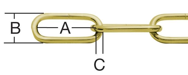 Lant cu za ovala, galben, 2.8 mm