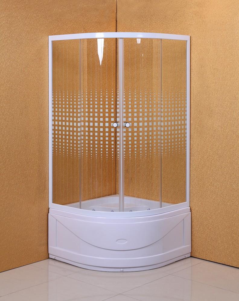 Cabina dus + cadita semirotunda S8971, 80 x 80 x 195 cm