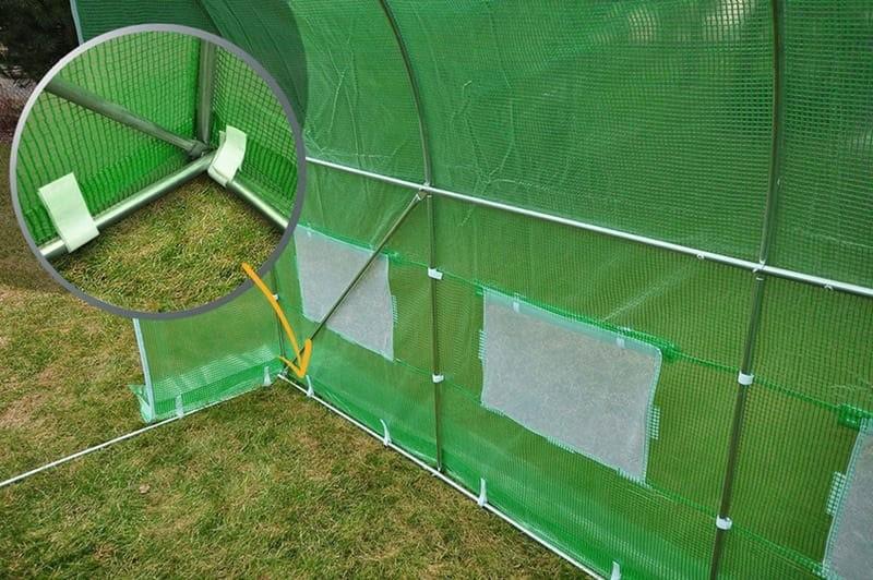 Solariu cu schelet metalic, verde, 6 x 3 x 2 m