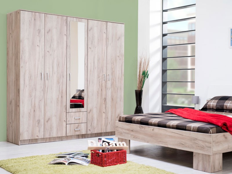 Dulap dormitor Hana 5K2F1O, stejar gri, 5 usi, cu oglinda, 200 x 52 x 205 cm, 5C