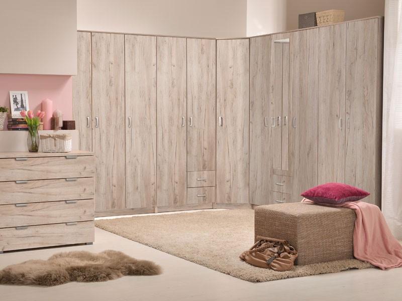 Dulap dormitor Hana 2K, stejar gri, 2 usi, 80 x 52 x 205 cm, 2C