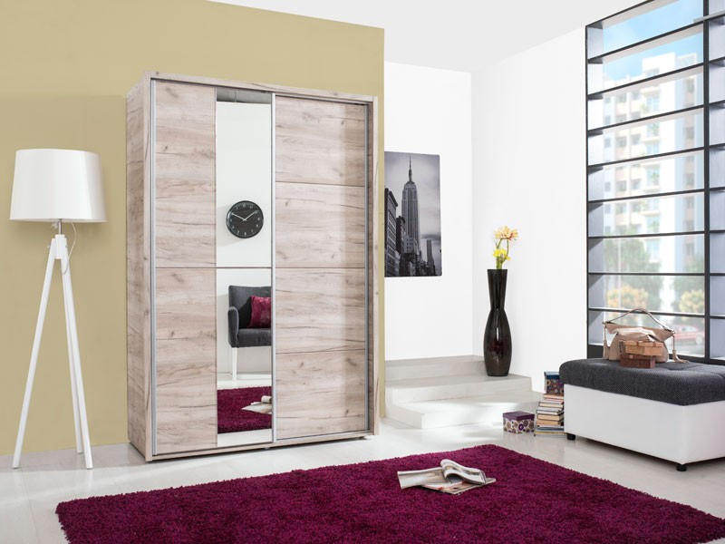 Dulap dormitor Logan 135, stejar gri, 2 usi, cu oglinda, 137.5 x 61 x 206 cm, 3C
