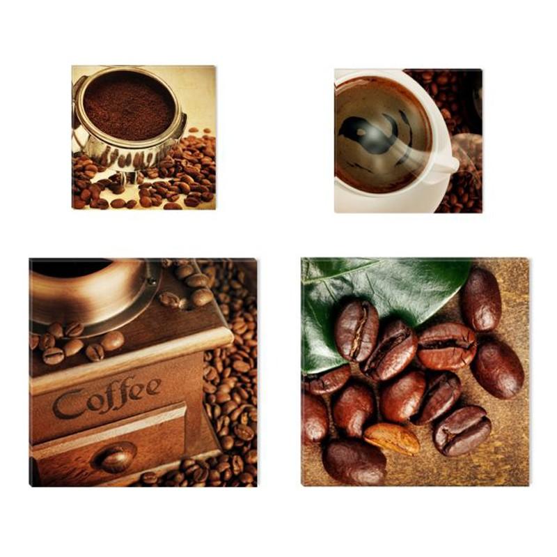 Tablou 4 piese, Cafea COL006, canvas + lemn de brad, stil modern, 2 piese - 30 x 30 cm + 2 piese - 20 x 20 cm