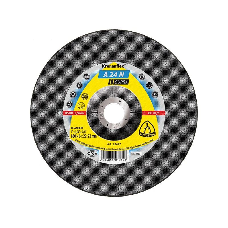 Disc polizare inox, Klingspor A 24 N Supra, 180 x 22.23 x 6 mm
