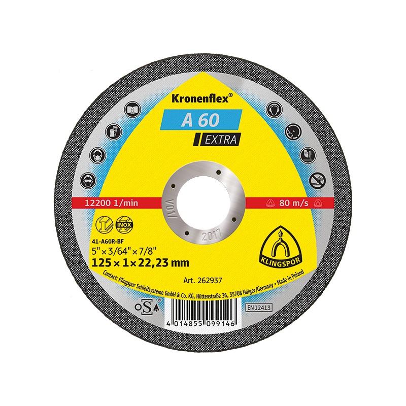 Disc debitare inox si metal, Klingspor A 60 Extra,  125 x 22.23 x 1 mm