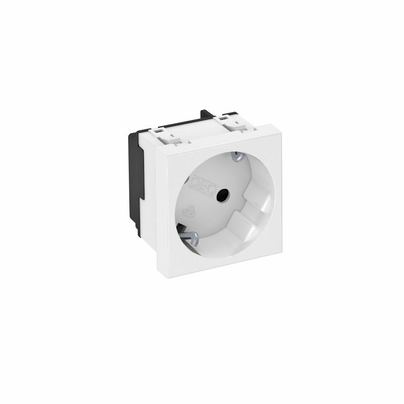 Priza simpla Obo Egs 6117041, incastrata, modulara - 1, contact de protectie, alba