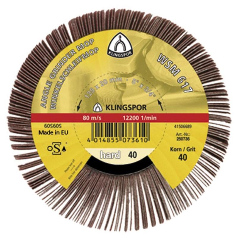 Perie abraziva, pentru otel / inox / vopsea / plastic / lemn, Klingspor WMS 617, 125 x 20 mm, granulatie 40