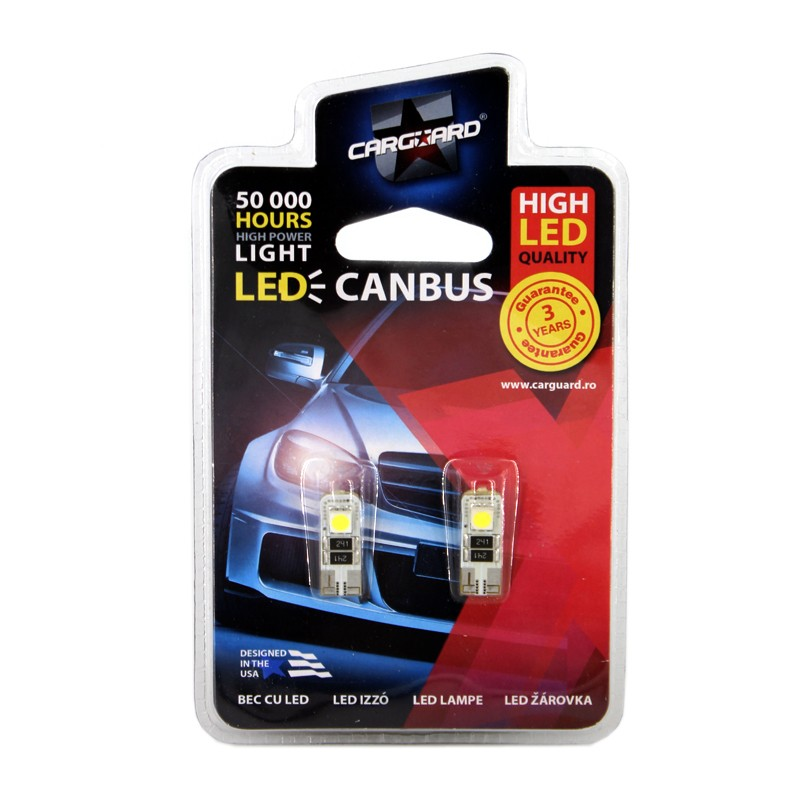Bec LED SMD de pozitie Canbus Carguard CAN103, T10, 3 W, 12 V, set 2 bucati