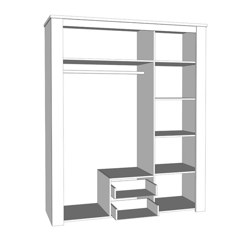 Dulap dormitor Kent 3K2FO, stejar alb + stejar gri, 3 usi, cu oglinda, 160 x 55.5 x 206.5 cm, 4C