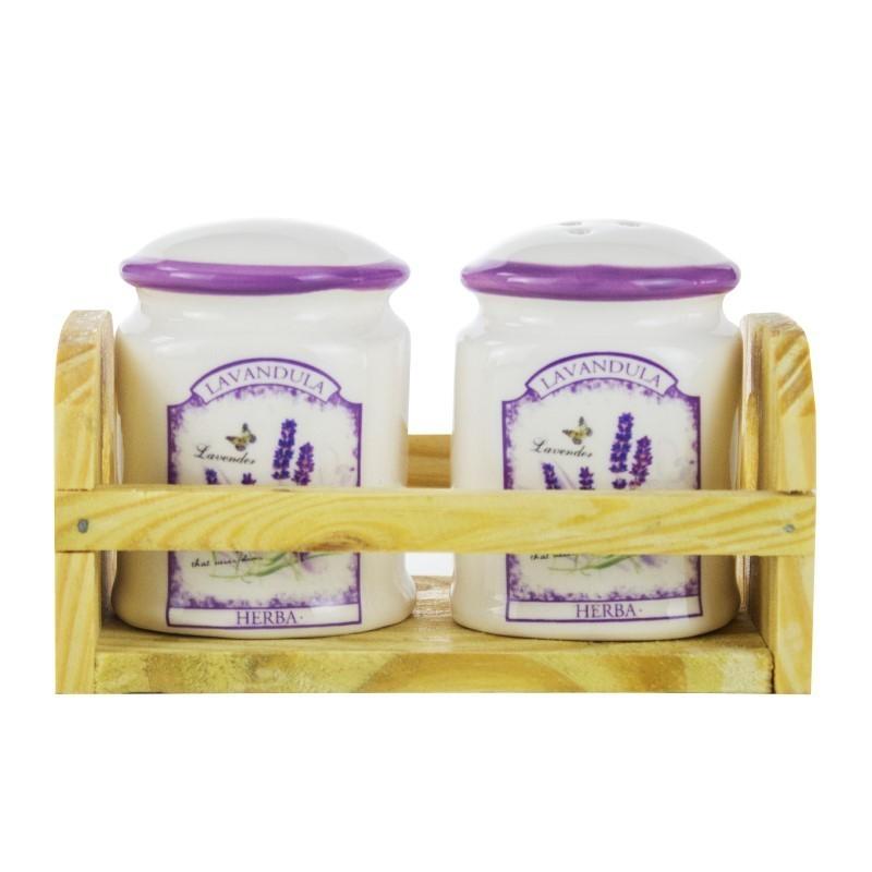 Solnita pentru sare / piper, Kasemi, ceramica, decor lavanda