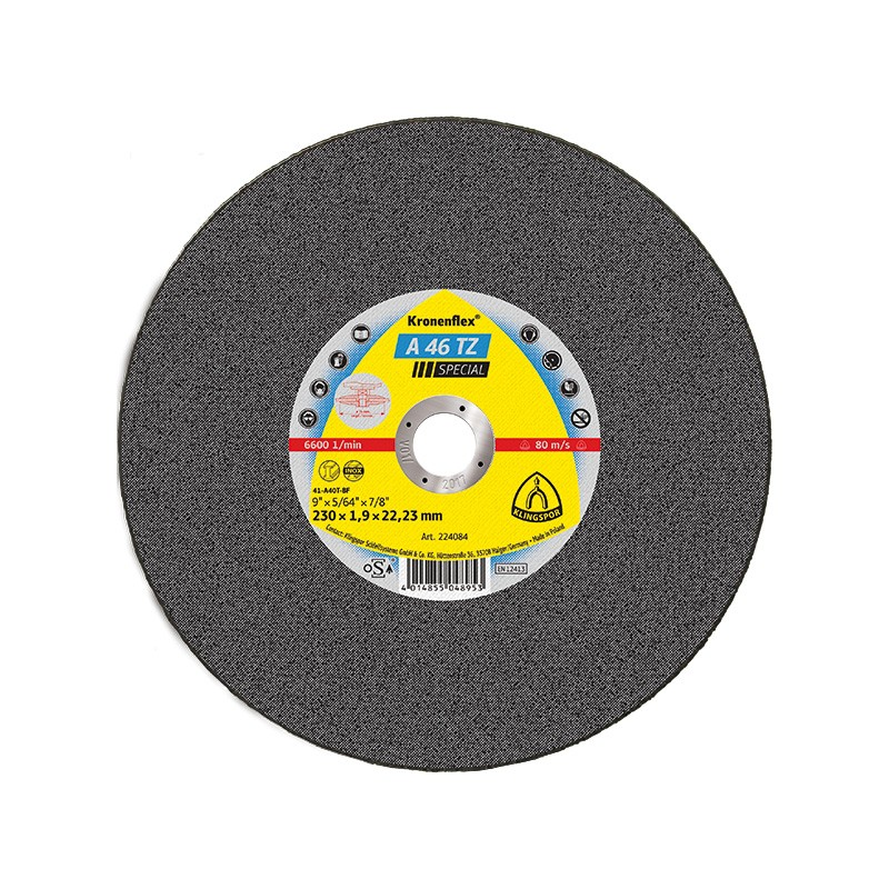 Disc debitare inox, Klingspor A 46 TZ Special, 230 x 22.23 x 1.9 mm