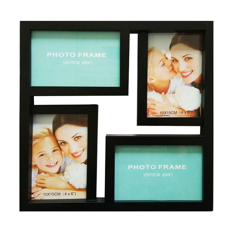 Rama foto, patrata, LB-243, neagra, plastic + sticla + carton, 29 x 29 cm