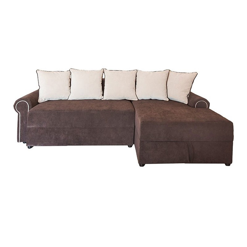 Coltar living extensibil pe stanga Joy, cu lada, maro + bej, 242 x 157 x 90 cm, 2C