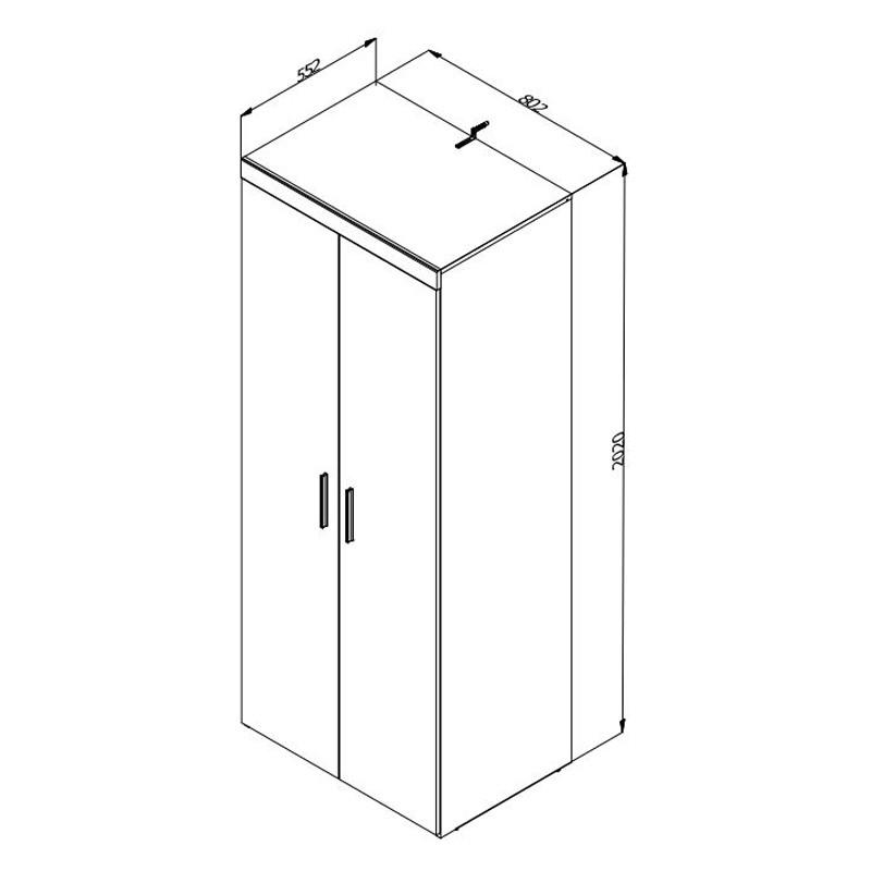 Dulap living Arno 2K, stejar gri + stejar alb, 2 usi, 80 x 55 x 202 cm