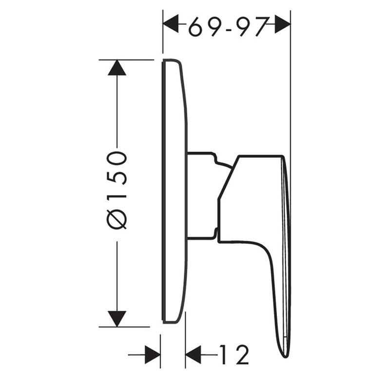 Baterie baie incastrata pentru cada / dus, Hansgrohe My Sport, D 15 cm , montaj incastrat, monocomanda, finisaj cromat