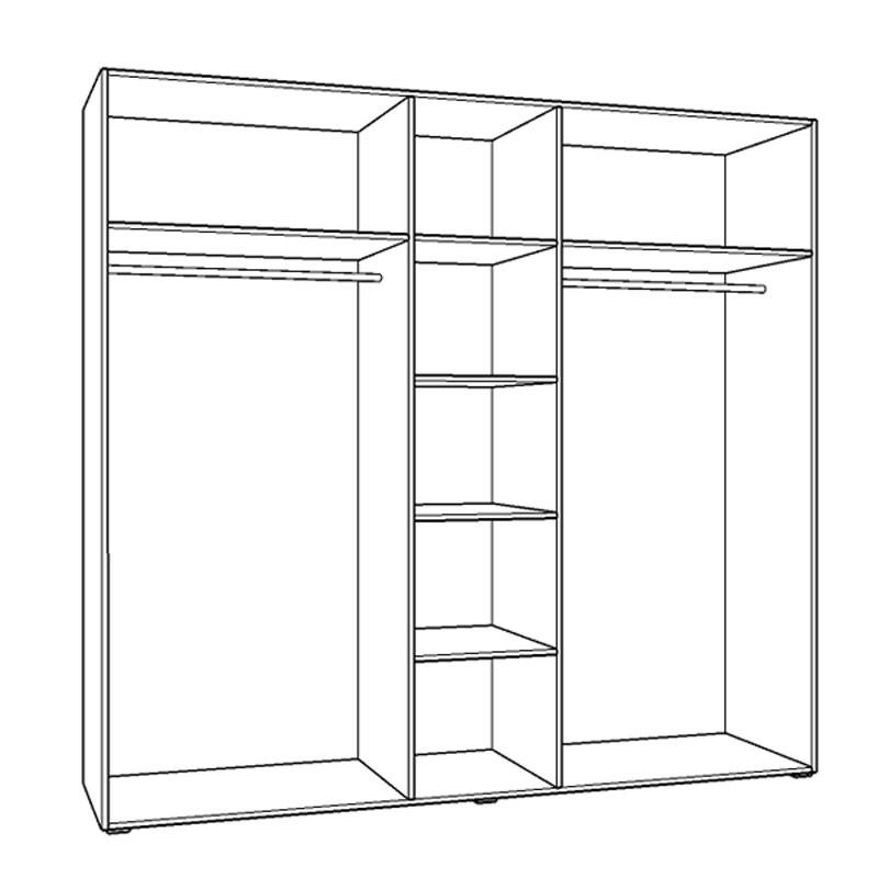 Dulap dormitor Dante 5K3O, sonoma + alb, cu oglinda, 223.5 x 55.5 x 206 cm, 5C
