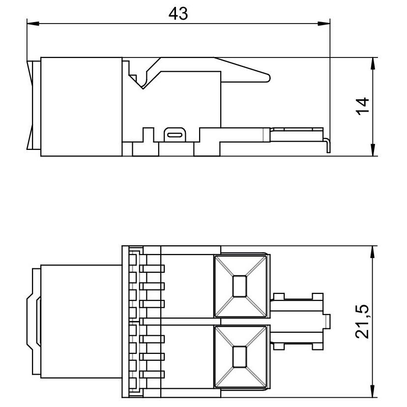 Conector Egs 6117337, RJ45 cat. 5E neecranat