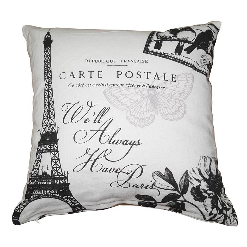 Perna decor SSE-OTC-9789, alb + negru, bumbac + poliester, cu print vintage, 40 x 40 cm