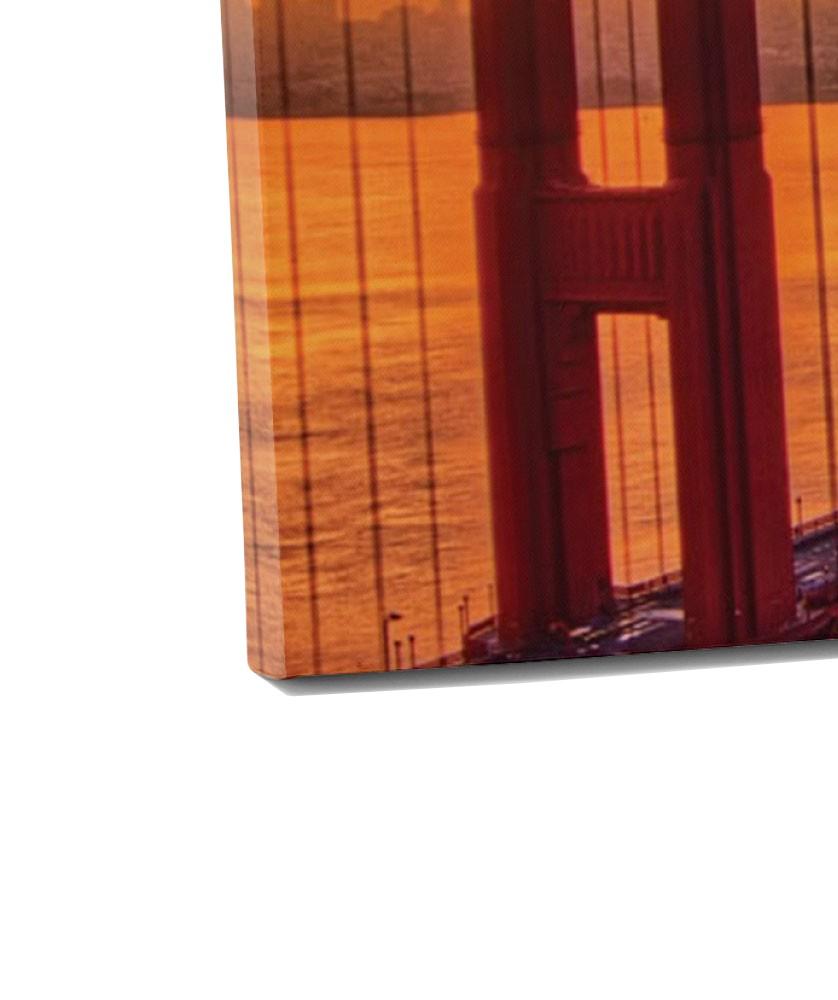Tablou canvas 4 piese, PT1177 Golden gate, panza + sasiu brad, stil orase si arhitectura, 2 piese - 30 x 50 cm + 2 piese - 30 x 70 cm