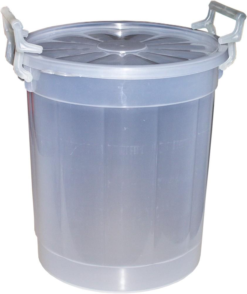 Butoi plastic Agora Plast, cu capac, 20 litri, transparent D 32 cm
