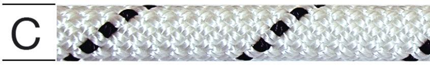 Sfoara polipropilena,  impletita, alb + negru, 9 mm