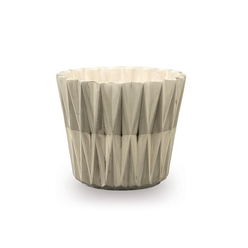 Masca ghiveci ceramica Geom gri 16 cm