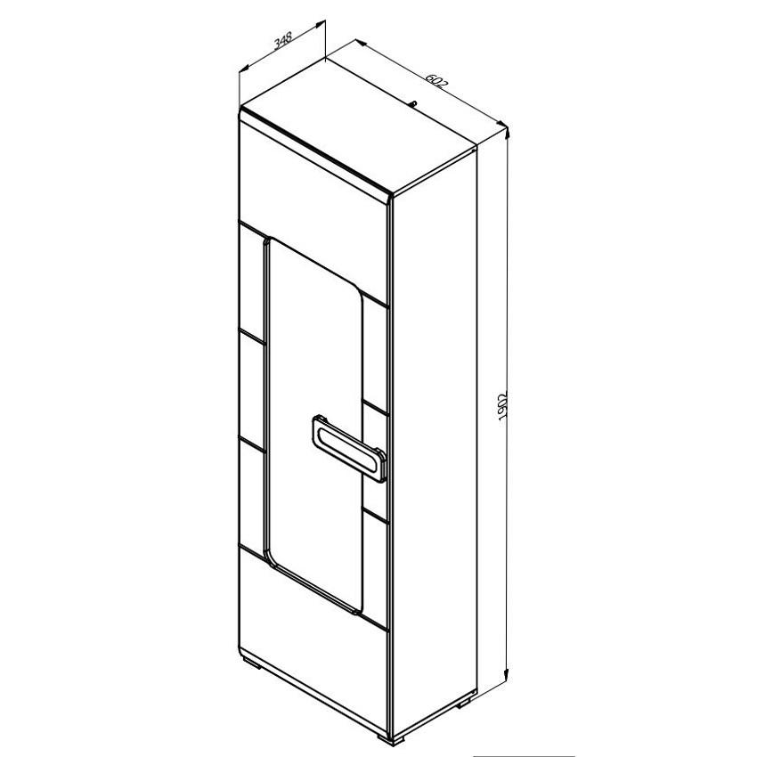 Vitrina living cu usa sticla Bert 1K VS, stejar gri + alb lucios, 60 x 35 x 190 cm, 2C