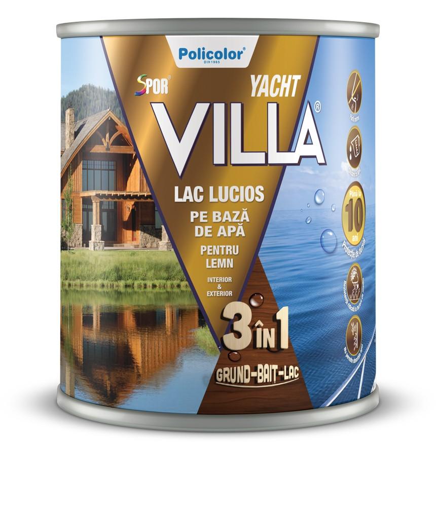 Lac pentru lemn Spor Villa Yacht, wenge, pe baza de apa, interior / exterior, 0.75 L