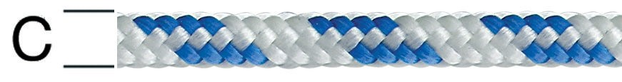 Sfoara polipropilena, alb + albastru, 4 mm
