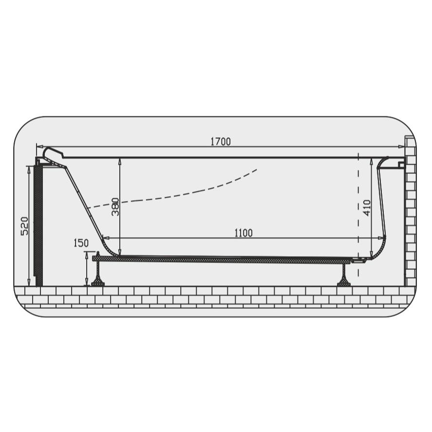 Cada baie rectangulara Martplast Monaco, acril, 170 x 75 cm