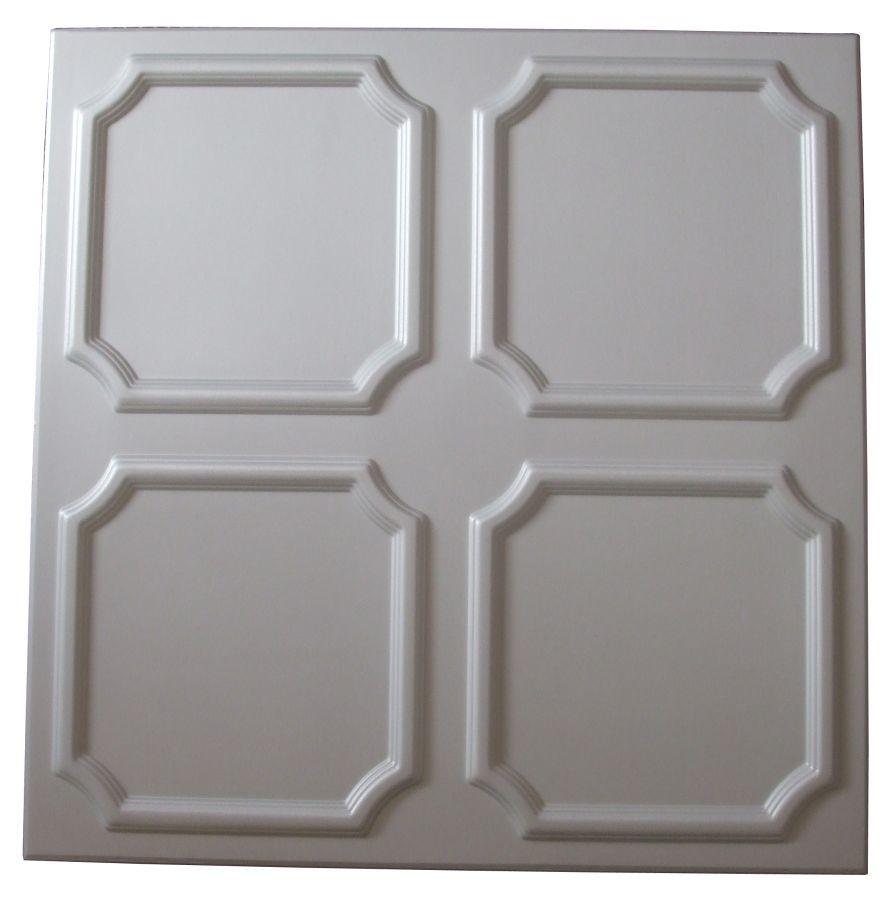Tavan fals decorativ din polistiren C1005 clasic alb 50 x 50 x 0.3 cm