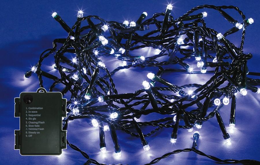Instalatie brad Craciun, Hoff, 240 LED-uri albe cu lumina rece, 23.9 m, controler, interior / exterior, alimentare baterii