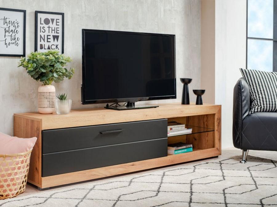 Comoda TV Remo, stejar auriu + negru, 162 x 41.5 x 43.5 cm, 1C