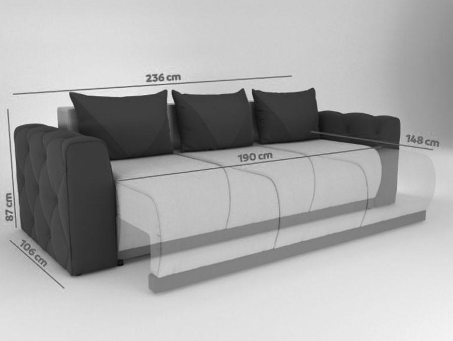 Canapea extensibila 3 locuri Bambus, cu lada, crem + maro, 236 x 106 x 87 cm, 4C