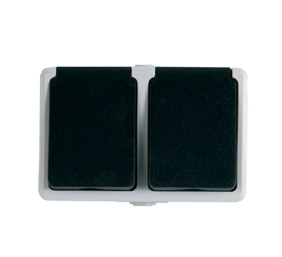Priza dubla Unitec PT antigron 46245L, aparenta, contact de protectie, alba