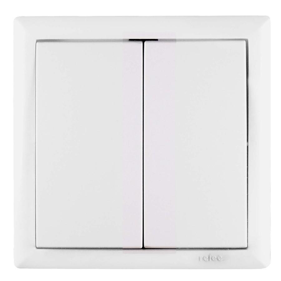 Intrerupator dublu Elegant IMBD E 45587, incastrat, rama inclusa, alb