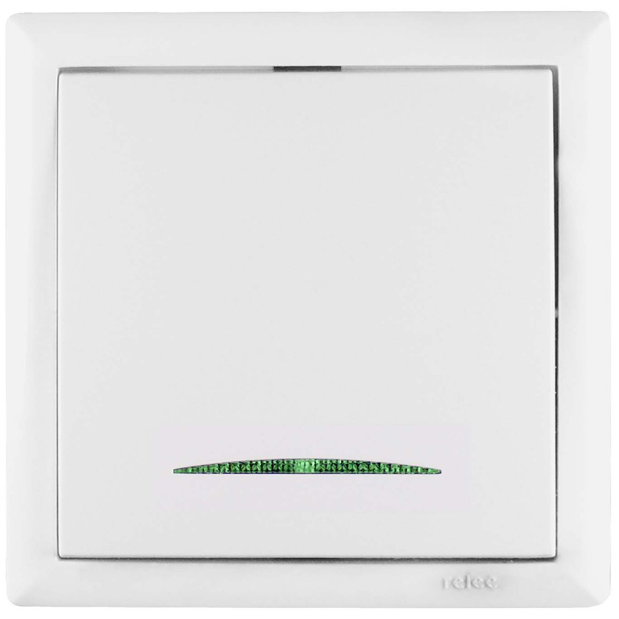 Intrerupator simplu cu indicator luminos Elegant IMBS STI E 45570, incastrat, rama inclusa, alb